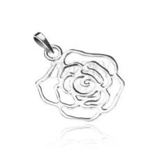 925-ös ezüst medál - fényes rózsa körvonalak medál