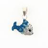 """""""A Boldogság kék cethala"""" swarovski jellegű kövekkel kirakott ezüst színű ezüst medál. A külon (fül) 3,7 mm-nél vékonyabb láncot tud fogadni. A gyöngyanker a legszebb hozzá! (Méret: magasság×szélesség mm-ben)"""