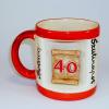 Ablakos bögre Évszámos 40 éves (Piros)