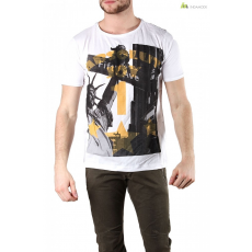 Absolut joy Férfi rövid ujjú póló fehér mintás WH4-K0719A