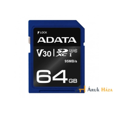 ADATA 64GB SD Premier Pro (SDXC Class 10 UHS-I U3) (ASDX64GUI3V30S-R) memória kártya memóriakártya
