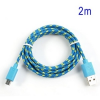 Adatkábel, Micro USB, 2 méter, cipőfűző design, kék
