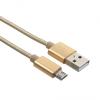 Adatkábel, Micro USB, 3 méter, szőtt cipőfűző minta, arany