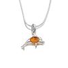 Agrianna Borostyánköves ezüst delfin medál p-3012
