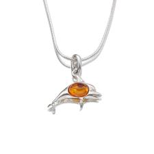 Agrianna Borostyánköves ezüst delfin medál p-3012 medál