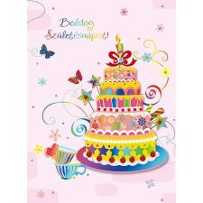 Ajándékkísérő kártya, Boldog Születésnapot! torta kézitáska és bőrönd