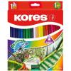 Akvarell ceruza készlet, hegyezővel, ecsettel, KORES, 24 különböző szín, 24 db/készlet (IK93824)