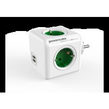 Allocacoc 1202Gn/oupc PowerCube Original Elosztó, 4 dugalj + 2 USB csatlakozó, zöld hosszabbító, elosztó