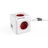 Allocacoc Elosztó, 4 aljzat, 2 USB csatlakozó, 1,5 m kábelhosszúság, ALLOCACOC  PowerCube Extended USB DE , fehér-piros