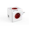 """Allocacoc Elosztó, 4 aljzat, 2 USB csatlakozó,  """"PowerCube Original USB DE"""", fehér-piros"""