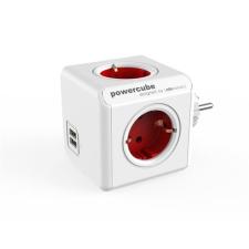"""Allocacoc Elosztó, 4 aljzat, 2 USB csatlakozó,  """"PowerCube Original USB DE"""", fehér-piros hosszabbító, elosztó"""