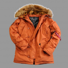 Alpha Industries Explorer valódi szőrmével - narancs kabát