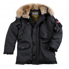 Alpha Industries Polar Jacket RF felvarró nélkül  valódi szőrmével - fekete