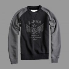 Alpha Industries Rescue Crew Neck - fekete férfi pulóver, kardigán