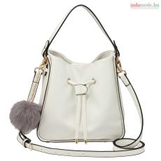Anna Grace AG00591S - Fehér pántos táska faux bőr, szőrme táska