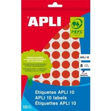 APLI Etikett, 10 mm kör, kézzel írható, színes, APLI, piros, 1008 etikett/csomag etikett