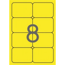 APLI Etikett, 99,1x67,7 mm, színes, kerekített sarkú, APLI, neon sárga, 160 etikett/csomag (20 lap/csomag) etikett