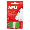 APLI Jelölőcímke, műanyag, 50 lap, 25x45 mm, APLI, zöld