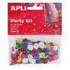 APLI Konfetti, metál, 11 mm, lyukasztott kör, APLI, vegyes színek (LCA13819)