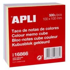 APLI Öntapadó jegyzettömb, 100x100 mm, 500 lap, APLI, pasztel jegyzettömb