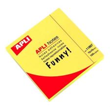 APLI Öntapadó jegyzettömb, 75x75 mm, 100 lap, APLI, neon sárga jegyzettömb