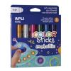 """APLI Tempera stift készlet, toll alakú, APLI """"Kids"""", 6 különböző metál szín"""