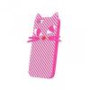 Apple iPhone 7 / 8, TPU szilikon tok, 3D csíkos macska minta, rózsaszín/fehér