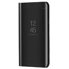 Apple iPhone SE (2020), Oldalra nyíló tok, hívás mutatóval, Smart View Cover, fekete (utángyártott) tok és táska