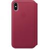Apple iPhone X kinyitható bőrtok - bogyópiros