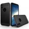 AppleKing Ellenálló védőtok iPhone X készülékre - csiszolt mintás - fekete