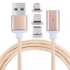 AppleKing Mágneses kábel micro USB / USB-C / lightning konektorra Apple készülékekre- 1m - rózsaszín - arany