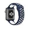 AppleKing Szilikon / gumis óraszíj Apple Watch 38mm Series 1 / 2 - kék / fehér