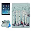 """AppleKing Védő flip cover tok beépített állvánnyal és irattárolóval Apple iPad 9.7"""" (2017) / iPad 2018 / iPad Air - róka nyírfák között"""