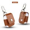 AppleKing Védő PU bőr tok Appla AirPods készülékhez karabínerrel - barna