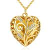 Arannyal bevont nagy méretű kacskaringós szív nyaklánc + AJÁNDÉK DÍSZDOBOZ (1072.)