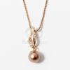 Arany bevonatos gyöngy medálos nyaklánc bronz jwr-1289