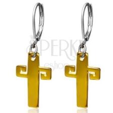 Arany színű acél fülbevaló, kereszt görög kulccsal fülbevaló