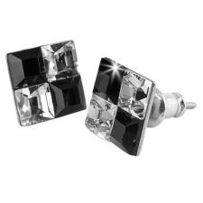 ART CRYSTELLA Fülbevaló, négyzet, fekete-fehér SWAROVSKI® kristállyal, 8 mm, ART CRYSTELLA® ajándéktárgy