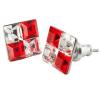 ART CRYSTELLA Fülbevaló, négyzet, light siam piros-fehér SWAROVSKI® kristállyal, 8mm, ART CRYSTELLA®