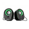 Astrum SU115 fekete-zöld 2.0 csatornás 3,5MM multimédia hangszóró USB-s áramellátással, hang
