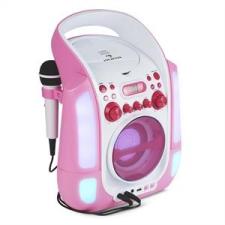 Auna auna Kara Illumina karaoke rendszer, CD, USB, MP3, LED fény show, 2 x mikrofon, hordozható, rózsaszín karaoké felszerelés