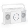 Auna Boomtown USB, boombox, CD lejátszó, FM rádió, MP3, hordozható bőrönd rádió, fehér