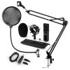 Auna CM001B mikrofon készlet V4 kondenzátoros mikrofon, USB adapter, mikrofonkar, pop szűrő, fekete