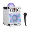 Auna Rockstar LED karaoke rendszer, CD-lejátszó, bluetooth, USB, AUX, 2 x 6,3 mm, fehér