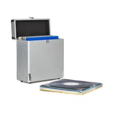 Auna Vinylbox Alu, lemez tartó bőrönd, 30 hanglemez tárolására, ezüst