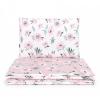 Babaágynemű szett 2 részes huzat - Virágok ekrü és rózsaszín