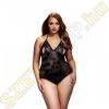 Baci Lingerie Plus Size nyakpántos áttetsző body - fekete - XL/XXL méret