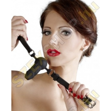 Bad Kitty Szilikon szájpecek kis dildóval - fekete műpénisz, dildó