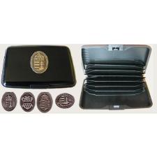 Bankkártya tartó metál fekete színű ón Nagy-Magyarország matricával kiegészítő irodaberendezés