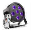 Beamz beamZ BFP130 FlatPAR LED reflektor, 6 x 6 W UV LED, DMX, IR-távirányító